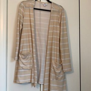 Lularoe peach-striped Caroline cardigan.